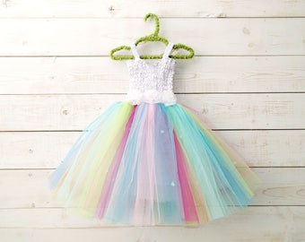 Unicorn Dress, Fairy Dress, Rainbow Tutu, Sequin Dress, Flower Girl, Floral Dress, Wedding, Flower Girl Dress, Pastel Tutu, Faerie Dress