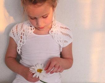 Girls White Lace Bamboo Shrug, bolero, jacket, 1-10 years