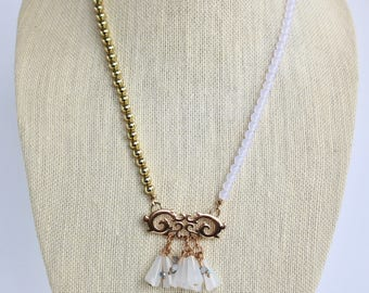 Lucite Tassel Necklace Blue gold sky clear aurora borealis OOAK Half gold up cycled repurposed Dangle whimsical Assemblage Offset White