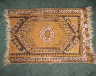 Vintage Small 16x23 Hand Woven Mustard Yellow Wool Accent Rug as found
