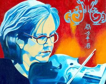 "Giclée Print of Original Painting ""Woman with Blue Viola"" Hand Signed Fine Art Print by Artist Ingrid Lockowandt"