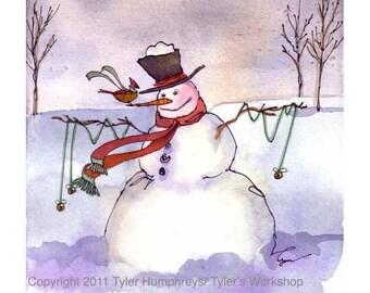 Snowman Christmas Greeting Card, Snowman Card, Snowman Art, Snowman Greeting Card, Snowman lllustration Winter Watercolor Painting Print
