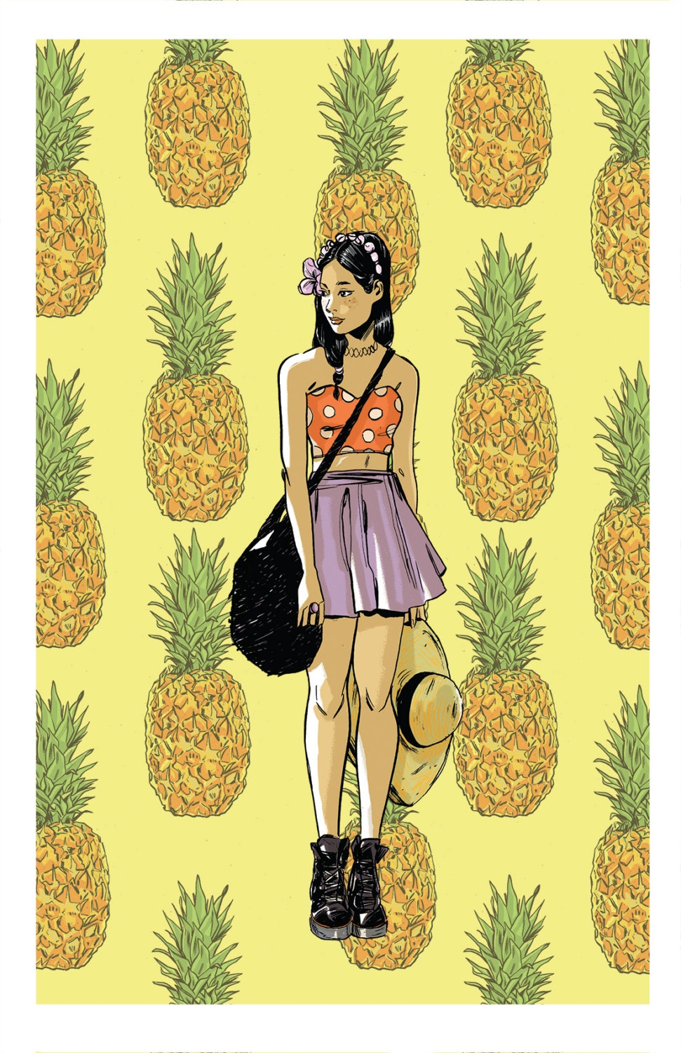 Pineapple Pattern Illustrated Giclee Art Print Pinup Art