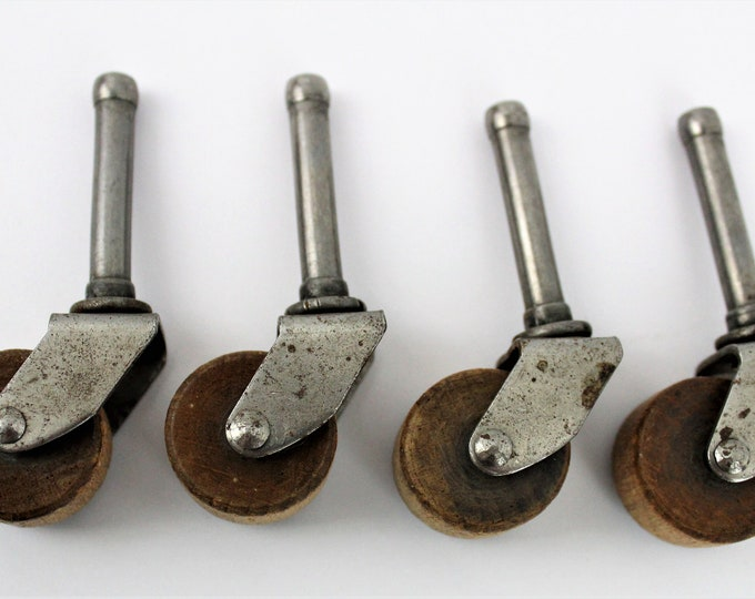 Antique Set of Four Wood Swivel Castor / Caster Wheels, Furniture Hardware