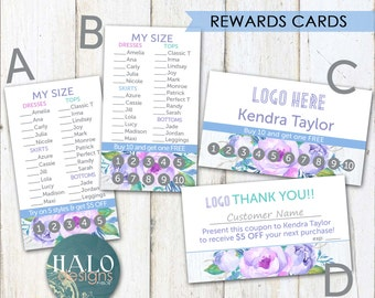 LLR REWARDS Cards - Business card, customer rewards, Purple Flowers