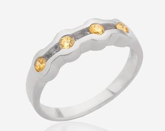 Gemstone ring 925 Sterling silver yellow citrine ring multistone ring birthstone ring yellow stone ring silver women jewelry