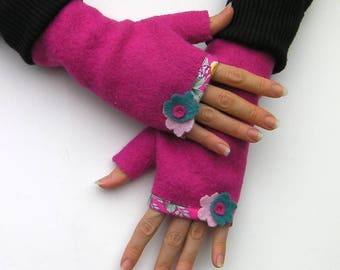 Pink fingerless gloves with thumb, women gloves, wool mittens, gift for her