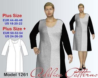 Plus size Dress Sewing Pattern PDF, Women's sizes 18-28, PDF Instant Download Sewing Pattern/Geometric Dress Sewing Pattern