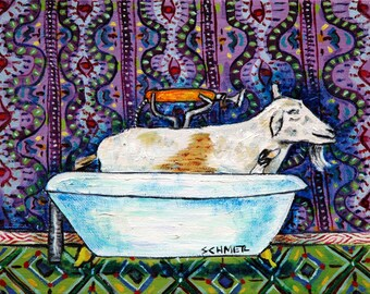 goat art - GOAT bathroom art PRINT JSCHMETZ pop folk abstract modern