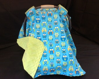 Car Seat Canopy/ Owls-Blue, Green, Orange/ Infant car seat cover
