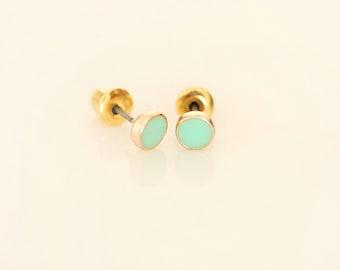 Mint Mini Round earring studs - Enamel Geometric earring studs