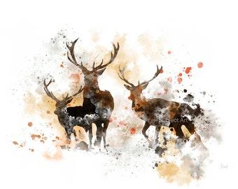 Stags Deer ART PRINT Illustration, Animal, Wildlife, Wall Art, Home Decor