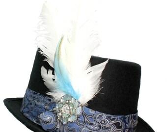 Black Felt Top Hat Something Blue Steampunk Topper Womens Mens Cosplay Wedding