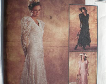 Vintage Lace Wedding Dress Sewing Pattern- McCall's 7426 Long Sleeve Bridal Gown, Bridesmaid Dress, Size 6 thru 18 UNCUT