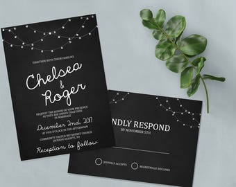 Printable Wedding Invitation and RSVP Kit | Custom RSVP card | Wedding Invitation Template | Wedding Invitation Kit | Chalkboard Wedding