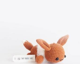 Lazy Eevee Amigurumi Plush Doll DIY Crochet pattern (lying/sleeping/resting series from Pokemon)