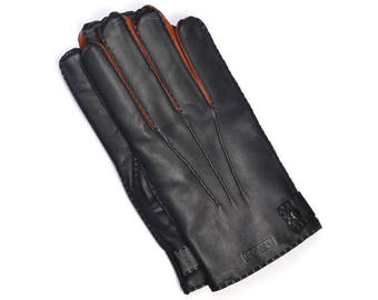 Lamskin Gloves for Man, Lined with Wool, with Cognac Accents