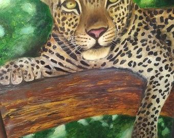 Leopard oil painting, original art work , African wildlife.