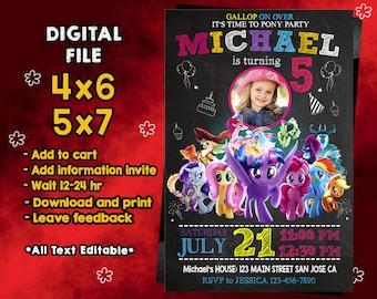Little Pony Invitations, Little Pony Birthday, Little Pony Party, Little Pony Card, Printable, Little Pony Invite, Little Pony, SL583