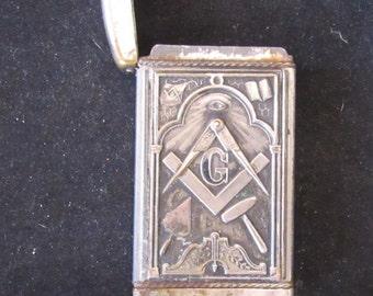 Match Box Silver Plated Mason Masonic Imagry Collectible