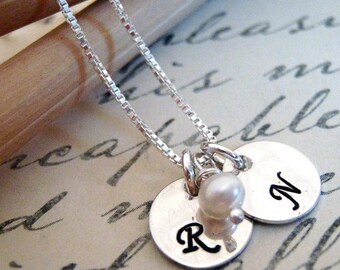 Custom Initial Necklace - Mini Initial Disk - Personalized Jewelry - Dainty Letter Necklace - Monogram Jewelry - Simple Silver Disk Necklace