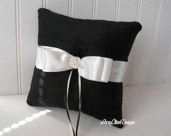 Bridal Ring Bearer Pillow Custom Wedding Ring Pillow Dupioni Silk Black and White