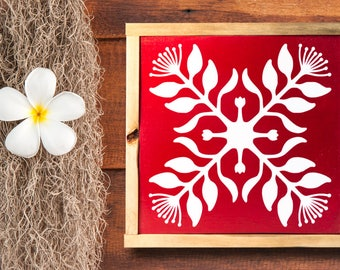 Hawaiian Quilt Decor - Lehua Ohia - Hawaiian Art - Wood - Wall Hanging