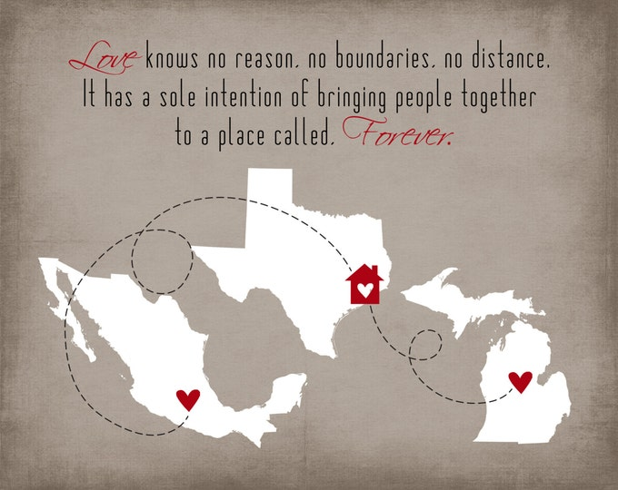 Personalized Family Gift Ideas, Mexico, Love Quotes, Long Distance Family, Mom Gift for Families Unique State Art Print Heart Together mom