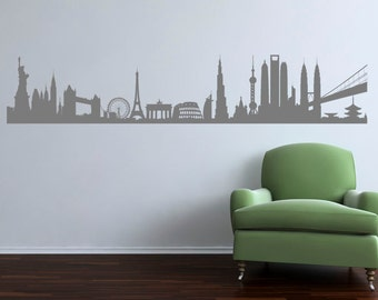 City Landmarks Of The World. Quality Vinyl Matte Wall Decal Sticker