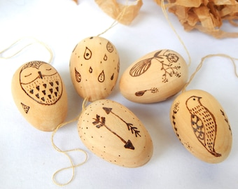 Miniature wooden eggs. Pyrography wooden egg set.  Wood burning egg. Hanging wooden eggs. Wooden Easter eggs. Natural Easter decor. Wood art