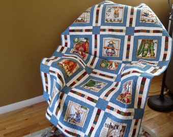 """Peter Rabbit Quilt, primary colors, Size 39 × 63"""", toddler bed quilt, lap quilt, heirloom quilt, Quiltsy Handmade"""