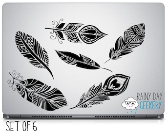 Gorgeous Feather Vinyl Decals - Set of 6 - Laptop Decal - Car Window Decal - Pick your Color - Hipster Style - Trendy - Boho Chic - Feathers