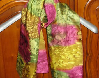 Unique pattern hand painted silk scarf