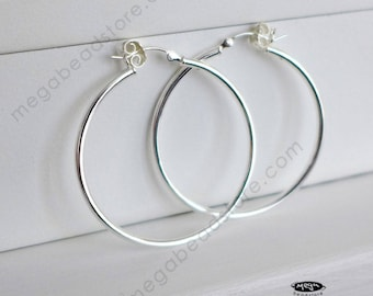 """40mm (1.57"""") 2mm Thick Hoop Earring 925 Sterling Silver F23"""
