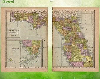 Globes maps etsy il vintage atlas map of 1920 florida antique map full color inches world atlas paper ephemera historical gumiabroncs Image collections