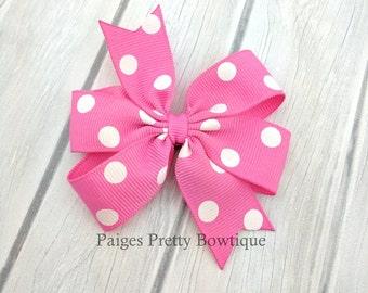 "3"" Pink & White Polka Dot Hair Bow-Alligator Clip-Baby Hair Bow-Toddler Hair Bow"