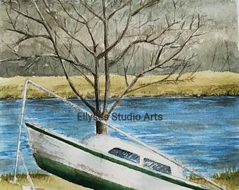 Watercolor print of an Old Boat
