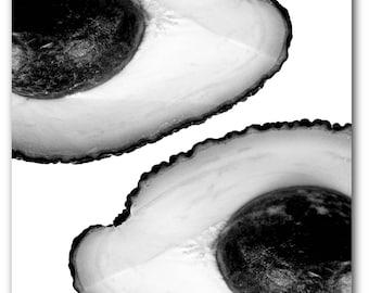 Avocado Print, Abstract Avocado, Summer Art, Avocado, Black And White Fruit Print, Kitchen Art, Avocado Decor, 8 x 10 inches, Unframed