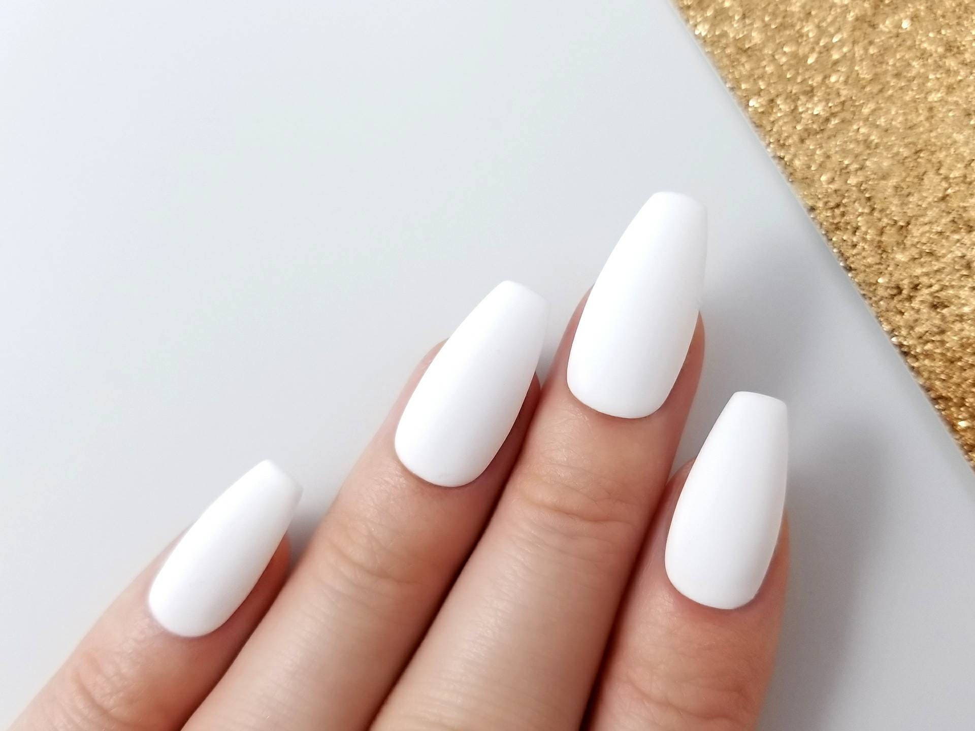 Matte white Press on nails Reusable manicure Any shape