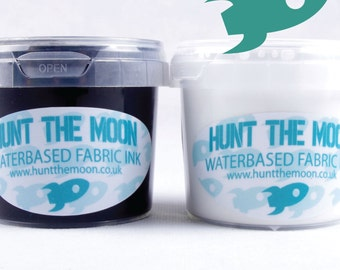 Hunt The Moon Screen Printing Waterbased Ink - Black & White Pack - Starter Set Choose Size