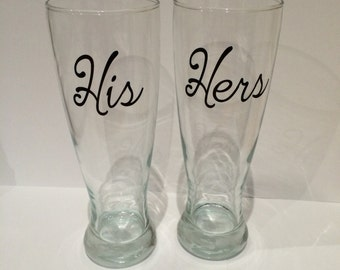His & Hers Pilsner Glasses