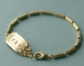 Initial bracelet hand stamped personalized brass vintage style lovers wedding anniversary