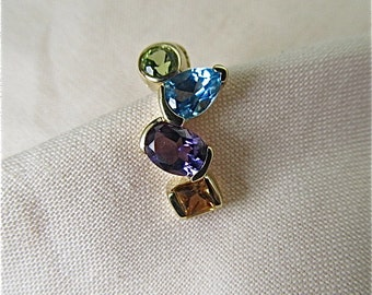 14K yellow gold pendant with citrine, amethyst, blue topaz, peridot