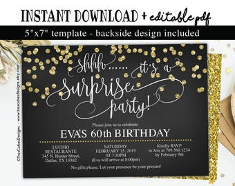 60th birthday invitations etsy surprise 60th birthday invitation instant download black and gold glitter 60th birthday invitations filmwisefo Images
