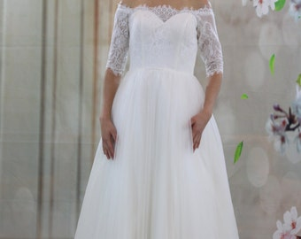 Little princess off-shoulder half sleeve length tulle ball gown tea length wedding dress