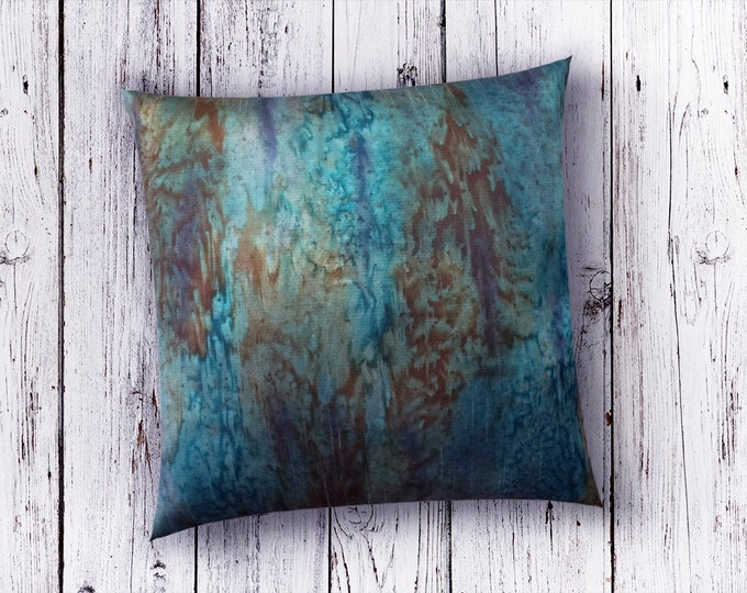 Teal Pillow Cover 18x18-Teal Throw Pillows-Teal Decor-Rustic Modern Decor-Lodge-Burnt Orange Pillow-Mother's Day Gift-Watercolor Home Decor