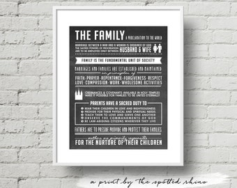 Instant Download 11x14 Chalkboard Proclamation to the Family Excerpts Print JPEG.