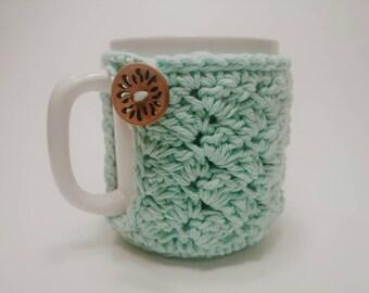 Crochet Coffee Mug Cozy - Cup Cozy, mint Variegated, mug warmer