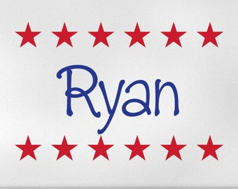 Custom Name Decal with Americana Stripes of Stars Vinyl Wall Decal for Patriotic Decor, Independence Day / 4th of July Decoration, Ryan