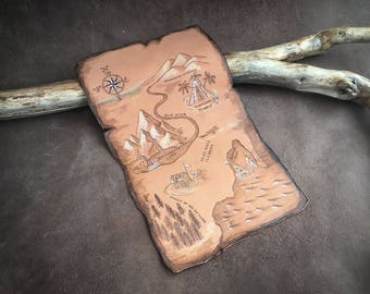 Treasure Map, Pirate Map, Leather Map, Pyrography Leather, Pirate Treasure Map,  16cm x 24cm, world Map